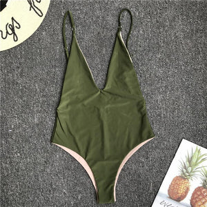Two-Sided Wearing Contrast Color Sexy One-Piece Swimsuit Bikini