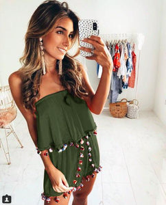Bohemia Vacacion Elegant Tasseled Solid Color Jumpsuit