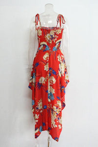 Print Spaghetti Strap Irregular Maxi Dress