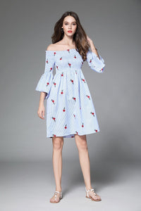 Off Shoulder Flower Embroidered New Casual Mini Dress
