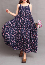 Load image into Gallery viewer, Vintage Linen Floral Print Loose Bohemia Beach Maxi Dress