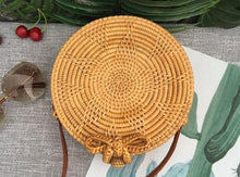 Load image into Gallery viewer, 2018 Handmade Rattan Woven Bag Round Retro Handbag