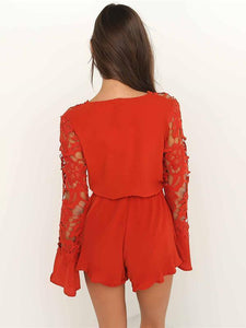Deep V Neck Long Sleeve Lace Rompers
