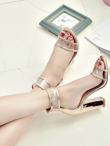 Summer Transparent Chunky Heels Shoes