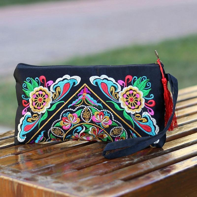 Ethnic Style Tassel Floral Double-Sided Embroidery Portable Bags