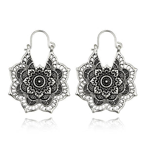 Bohemian Vintage Hollow Alloy Flower Earrings Accessories