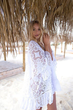 Load image into Gallery viewer, Bohemian White Beach Hollow Out Ruffles Bikini Cover-Up