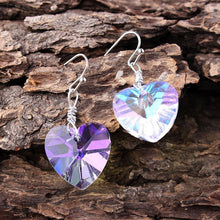 Load image into Gallery viewer, Heart Shape Bling Crystal Magic Eardrop Pendant Handmade Wire Earrings