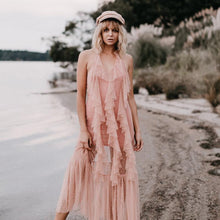 Load image into Gallery viewer, Pink Spaghetti Strap Beach Maxi Dress