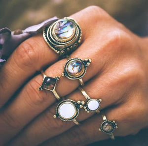 Boho Retro Water Drop Cobblestone Joint Jewelry 6 PCS  Ring Set