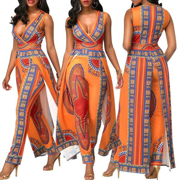 Print Deep V Neck Sleeveless Split Jumpsuit