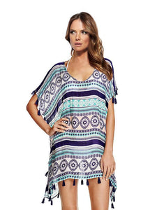 Casual Beach Vacation Tassel Chiffon Short Sleeve V Neck Mask Cover-ups