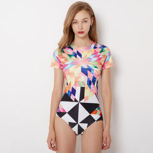 Colorful Connected Surfing Suit Short Sleeve Women Swimming Suit Hot Spring Swimming Suit