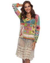 Load image into Gallery viewer, Rainbow Color Sexy Openwork Top Hand-Knit Beach Bikini Cover-Up