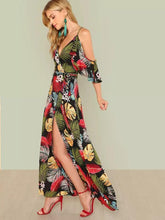 Load image into Gallery viewer, Bohemia V-Neck Off-the-shoulder Printed Maxi Dress