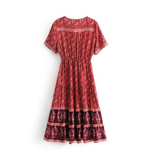 Load image into Gallery viewer, Print V Neck Short Sleeve Bohemia Dress