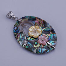 Load image into Gallery viewer, Oval Two Flowers Abalone Shell Necklace Pendant