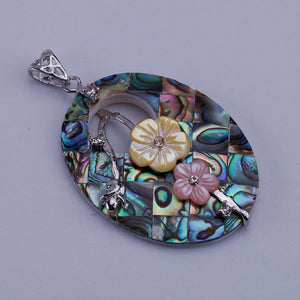 Oval Two Flowers Abalone Shell Necklace Pendant