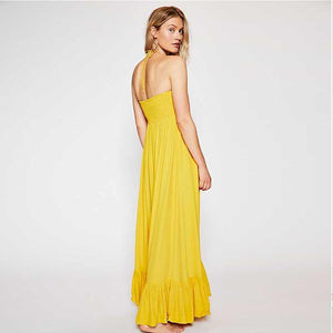 Long Bohemian Solid Color Sling Ruffled Tube Top Fishtail Dress
