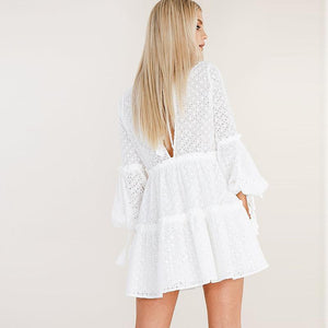 2018 White Long Sleeve Mini Dress