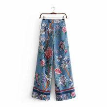 Load image into Gallery viewer, Autumn Bird Flower Print High Waist Side Zipper Loose Wide Leg Pants