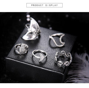 Bohemian Accessories Geometric Turtle Fishtail 5 Piece Sets Ring
