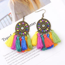 Load image into Gallery viewer, Vintage Colorful Tassel Dream Catcher Earrings Jewelry
