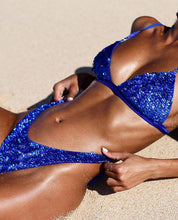 Load image into Gallery viewer, Blue Sequins Bikini Sexy Split Swimsuit