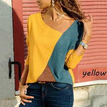 Load image into Gallery viewer, Stitching Contrast Color Round Neck Long Sleeve Casual T-Shirt Top