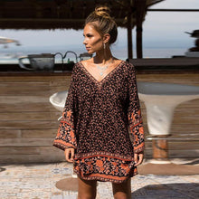 Load image into Gallery viewer, Bohemia Floral Flare Sleeves V-Neck Cotton Beach Mini Dress