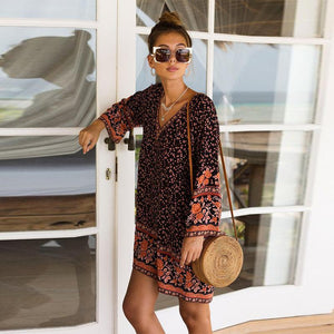 Bohemia Floral Flare Sleeves V-Neck Cotton Beach Mini Dress