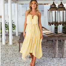 Load image into Gallery viewer, Bohemian Off-The-Shoulder Print Stripe Sling Beach Holiday Chiffon Dress