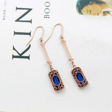 Load image into Gallery viewer, Long Blue Green Stone Dangle Women Bohemian Jewelry Antique Drop Earrings