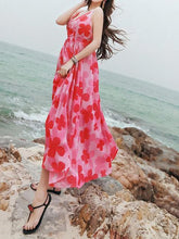 Load image into Gallery viewer, Sexy Chiffon Spaghetti Strap Floral Print Beach Maxi Long Dress