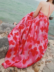 Sexy Chiffon Spaghetti Strap Floral Print Beach Maxi Long Dress