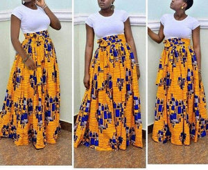 Print High Waist Beach Boho Maxi Skirt