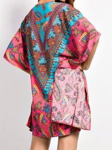 Paisley Print Handkerchief-Hem Open Neckline Batwing Sleeves Short Dress