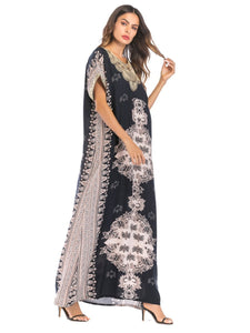 Print Short Sleeve Loose Kaftan Dress