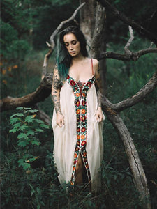 Bohemia Flower Inwrought Stripes V Neck Lace-Up Beach Long Dress