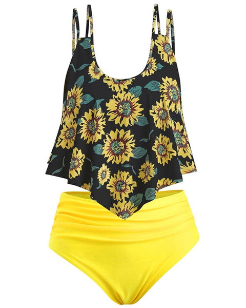 Summer High Waist Sunflower Print Split Swimsuit