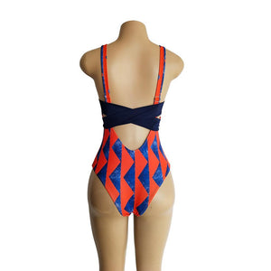 Printed Straps Women's One-piece Bikini Swimsuit