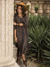 Load image into Gallery viewer, Bohemia Stripe Long Sleeve Side Split Maxi Dress