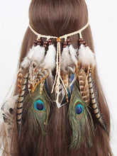 Load image into Gallery viewer, Gypsy Indian Hippie Bohemian Feather Hair Band Headwear