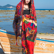 Load image into Gallery viewer, Red Dot National Style Vacation Printing Sunscreen Scarf Shawl Beach Towel