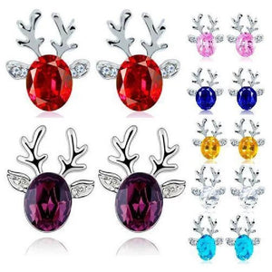 Luxury Women Earrings Crystal Deer Ear Stud Sweet Casual Party Earrings