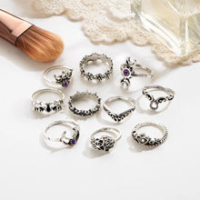 Load image into Gallery viewer, 10 pcs/set vintage beach ring punk hollow elephant sun flower rings set carved boho midi finger jewelry