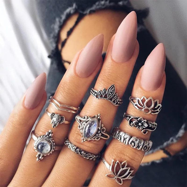10 pcs/lot vintage opal stone finger lotus ring set antique boho jewelry knuckle rings for Xmas party