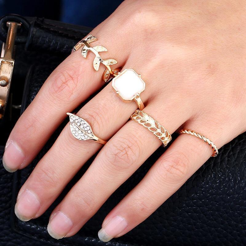 5pcs BOHO ring set jelly leaves style bohemia party