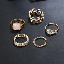 Load image into Gallery viewer, 5pcs BOHO ring set jelly leaves style bohemia party