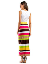 Load image into Gallery viewer, Two Pieces Stripe Sleeveless Beach Dress Maxi Dress
